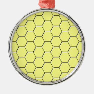 Gelbes Bienenwabenmuster Rundes Silberfarbenes Ornament