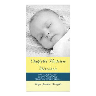 Gelbes Blau dankt Ihnen Baby-Duschen-Foto-Karten Fotokartenvorlage