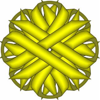 Gelbes Blumen-Band Fotoskulptur Schlüsselanhänger