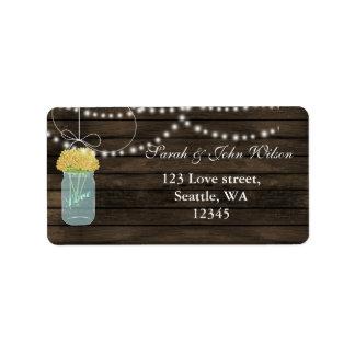 gelbes Blumenmaurerglas-Adressen-Etikett Adressaufkleber