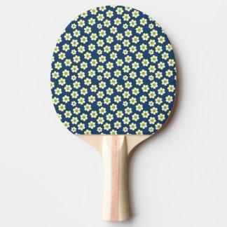 Gelbes Blumenmuster auf blauem Hintergrund Tischtennis Schläger