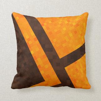 Gelbes Brown, abstraktes Mosaik-Fliesen-Muster, Kissen