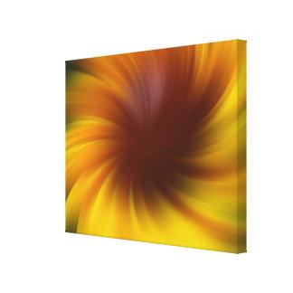 Gelbes Brown-Wirbel abstrakt Leinwanddruck
