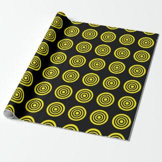 Gelbes Bullaugen-Schwarz-Packpapier Geschenkpapier