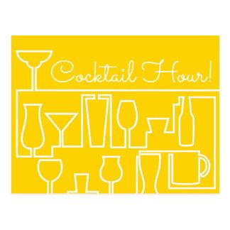 Gelbes Cocktail-Party Postkarten