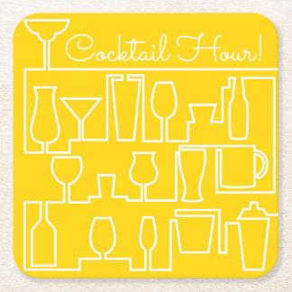 Gelbes Cocktail-Party Rechteckiger Pappuntersetzer