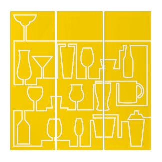 Gelbes Cocktail-Party Triptychon