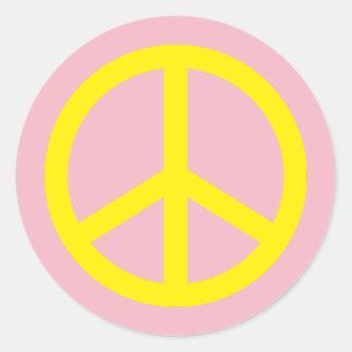 Gelbes Friedenszeichen Runder Aufkleber