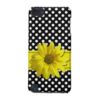 Gelbes Gänseblümchen-Schwarzweiss-Tupfen iPod Touch 5G Hülle