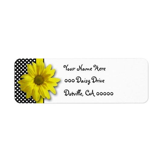 Gelbes Gänseblümchen-Schwarzweiss-Tupfen Rücksende Aufkleber