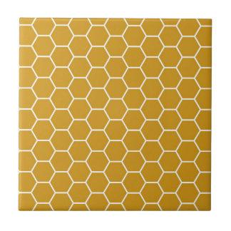 Gelbes geometrisches Bienenwaben-Goldrutenhexagon Keramikfliese