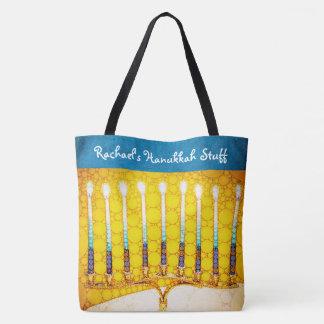 Gelbes Goldchanukka menorah Foto-individueller Tasche