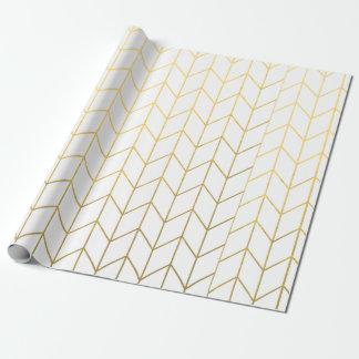 Gelbes GoldZickzack weißer moderner Chic Geschenkpapier