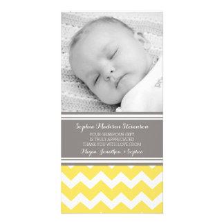 Gelbes Grau danken Ihnen Baby-Duschen-Foto-Karten Bildkarte