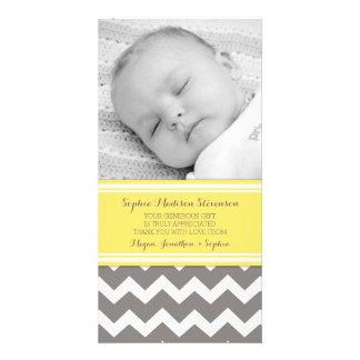 Gelbes Grau danken Ihnen Baby-Duschen-Foto-Karten Bildkarten
