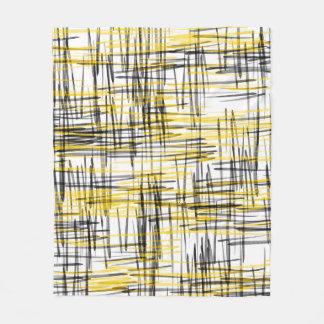 """Gelbes graues Schwarzes kritzelt"" den abstrakten Fleecedecke"