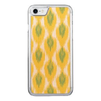 Gelbes Grün abstraktes Stammes- Ikat Carved iPhone 8/7 Hülle