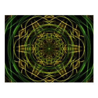 Gelbes Grün-Fraktal Postkarte
