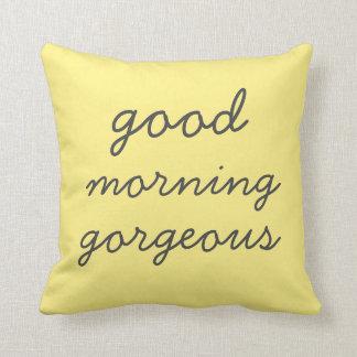 Gelbes guter Morgen-herrliches modernes Kissen