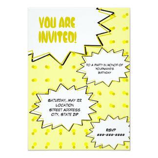 Gelbes HalbtonPop-Kunst-Comic-inspirierte 12,7 X 17,8 Cm Einladungskarte