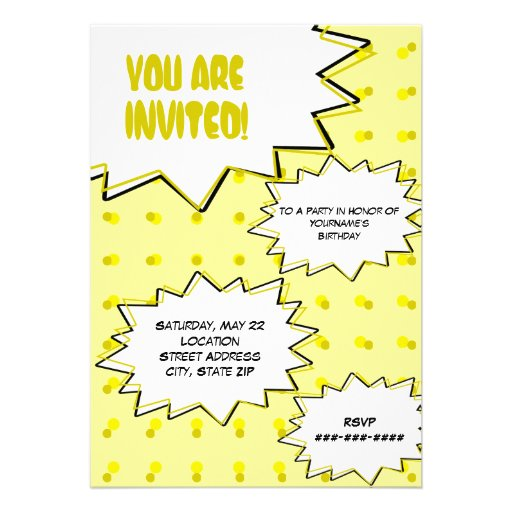 Gelbes HalbtonPop-Kunst-Comic-inspirierte Ankündigungskarte