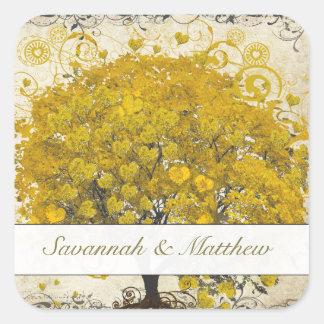 Gelbes Herz-Blatt-Baum-Hochzeits-Siegel Quadratischer Aufkleber