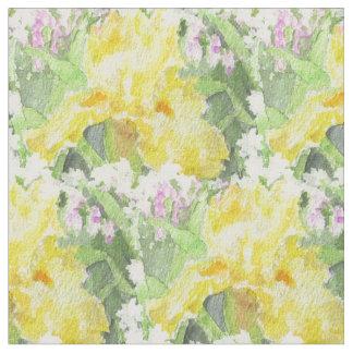 Gelbes hohes Schwertlilie-Aquarell Stoff