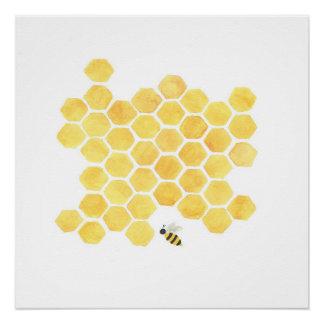 Gelbes Honigbienenmalereikunstwand-Dekorplakat Perfektes Poster