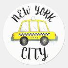 Gelbes kariertes Taxi-Auto New York City NYC Runder Aufkleber