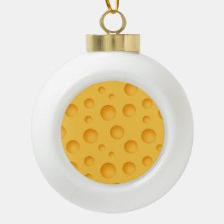 Gelbes Käse-Muster Keramik Kugel-Ornament