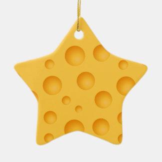 Gelbes Käse-Muster Keramik Ornament
