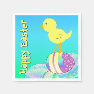Gelbes Küken mit Pastell Eggs FRÖHLICHE OSTERN Serviette