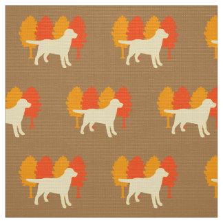 Gelbes Labrador-Kontur-Herbst-Baum-Toffee Stoff