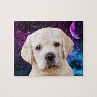 Gelbes Labrador - Liebe zum Mond Puzzle