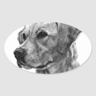 Gelbes Labrador Ovaler Aufkleber