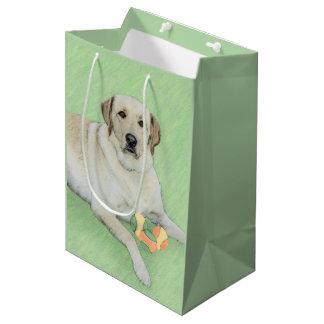 Gelbes Labrador retriever u. Tennisball-Malen Mittlere Geschenktüte