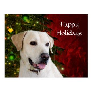 Gelbes labrador retriever-Weihnachten Postkarte
