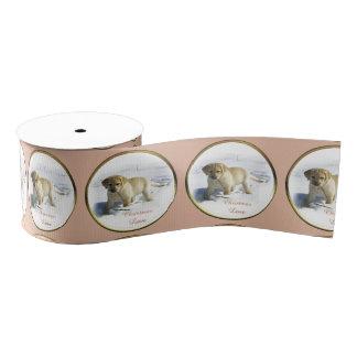 Gelbes Labrador retriever-Weihnachten Ripsband