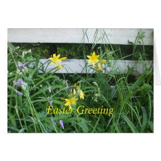 Gelbes Lilie-Ostern Grußkarte