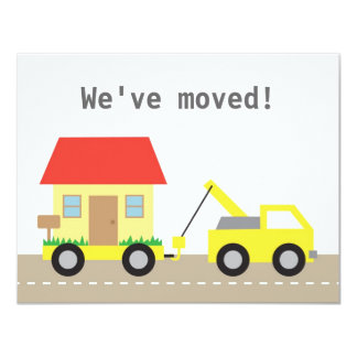 Gelbes LKW-Schleppen-Haus, das wir uns bewegt Karte