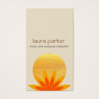 Gelbes Lotos-Blumen-Logo-Yoga-heilende Gesundheit Visitenkarten