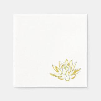 Gelbes Lotos Watercolor-Papierservietten-Set Serviette
