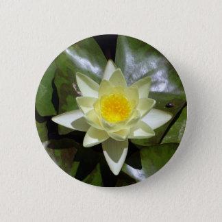 Gelbes Lotus und Lilienauflagen Runder Button 5,1 Cm