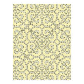 Gelbes marokkanisches Gitter-verziertes Muster Postkarte