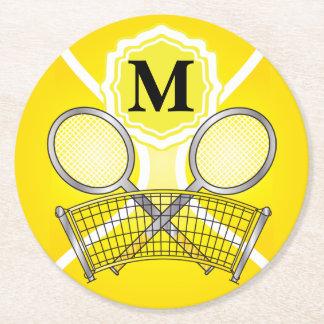 Gelbes Monogramm-Tennis Runder Pappuntersetzer