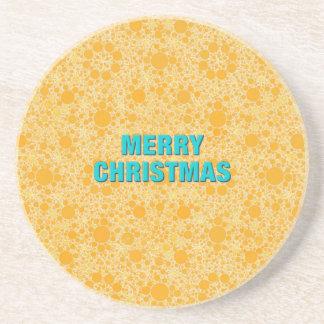 Gelbes Muster-frohe Weihnachten Untersatz