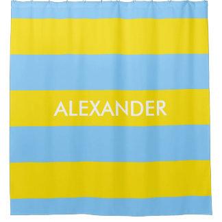 Gelbes mutiges H Monogramm des Himmel-Blau-des Duschvorhang