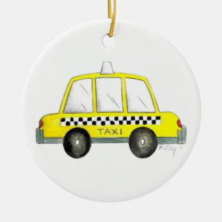 Gelbes New York City kariertes Fahrerhaus-Geschenk Keramik Ornament