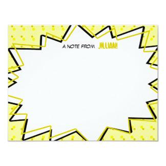 Gelbes Pop-Kunst-Comic-Buch inspiriertes flaches 10,8 X 14 Cm Einladungskarte