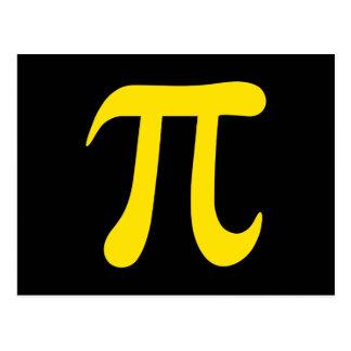 Gelbes PU-Symbol auf schwarzem Hintergrund Postkarte
